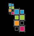 Modern squares on black background vector