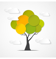 Abstract paper green tree with clouds vector