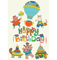 Happy birthday colorful background with funny vector