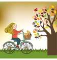 Happy girl on bike vector