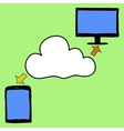 Doodle style tablet pc and cloud vector