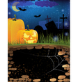 Terrible pumpkins on a night cemetery vector