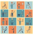 Construction worker icons flat line vector