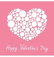 White heart made from many round dots love card vector