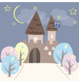 Castle with two towers and trees vector
