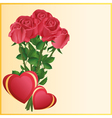 Greeting card with two hearts and red roses vector