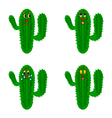 Funny cartoon cacti on a white background vector
