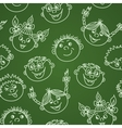 Seamless doodle smiling kids faces on chalkboard vector