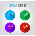 Icon set of fresh coctails with lime and orange vector