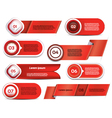 Set of red progress version step icons vector
