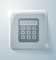 Glass square icon with highlights calculator vector