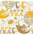 Love tea background pattern vector