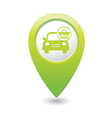 Car with shop basket icon pointer green vector