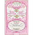 Pink floral vintage wedding invite vector