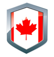 Shield with canadian flag vector