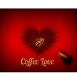 Heart of coffee beans with coffee love text vector