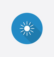 Sun flat blue simple icon with long shadow vector