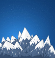 Mountain landscape with snow top and stars at the vector