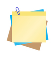 Colorful post it with blue clip vector