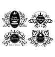 Retro black bakery logo labels set vector