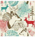 Retro forest deer pattern vector