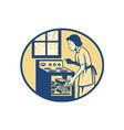 Housewife baker baking in oven stove retro vector