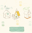 Birds and bird houses doodles vector