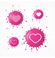 Pink splash heart symbols set isolated on white vector