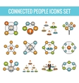 Connected people flat icons set vector