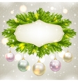 Fir-tree branches and baubles vector