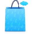Blue shopping bag with rain pattern vector