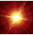 Red color burst of light with lens flare vector