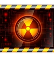 Danger button with the sign of radiation vector