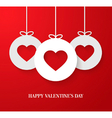 Valentines day card with hanging hearts vector