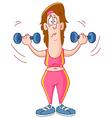 Woman lifting dumbbells vector