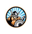 Viking raider barbarian warrior retro vector