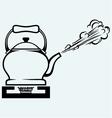 Tea kettle on gas stove vector