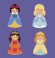 Four cute fantastic princesses vector