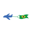 Airplane with brasil flag color vector