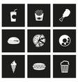 Black fast food icon set vector