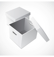 Open white cardboard carton gift box vector