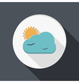 Paper flat icon sun behind the cloud vector