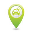 Car with tool icon map pointer green vector