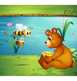 A bear and a bee at the riverbank vector