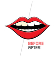 Mouth on white background cleaning teeth before vector