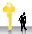 Businessman looking big key vector