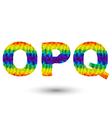 Triangular letters opq vector