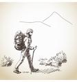 Woman trekking vector