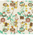 Tea and cakes background vector