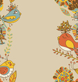 Border with abstract hand-drawn flowers and birds vector